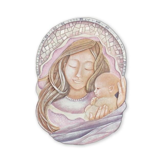 Cartapietra Quadro Formella sagomato Carezza della sera 36 x 52 cm  110588RA rosa maternità