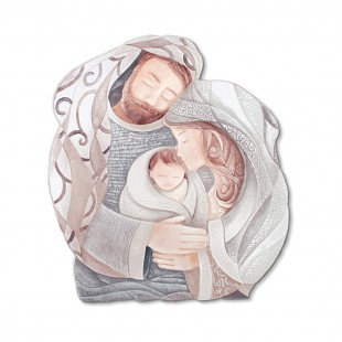 Cartapietra Quadro Formella sagomato Tenero Abbraccio 60 x 55 cm 1106130NT sacra famiglia
