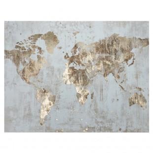 L'Oca Nera 1Q107 Quadro Acrilico su tela 76*100 mondo cartina planisfero oro