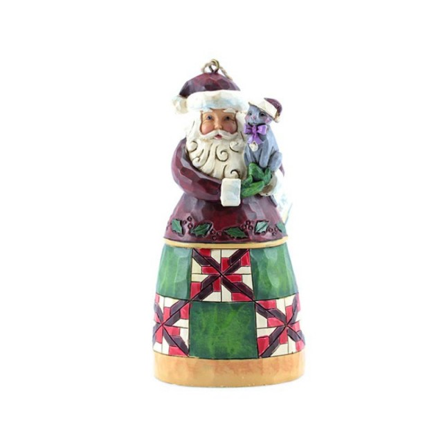 Jim Shore  Heartwood Creek Santa With Cat Ornament 4053831