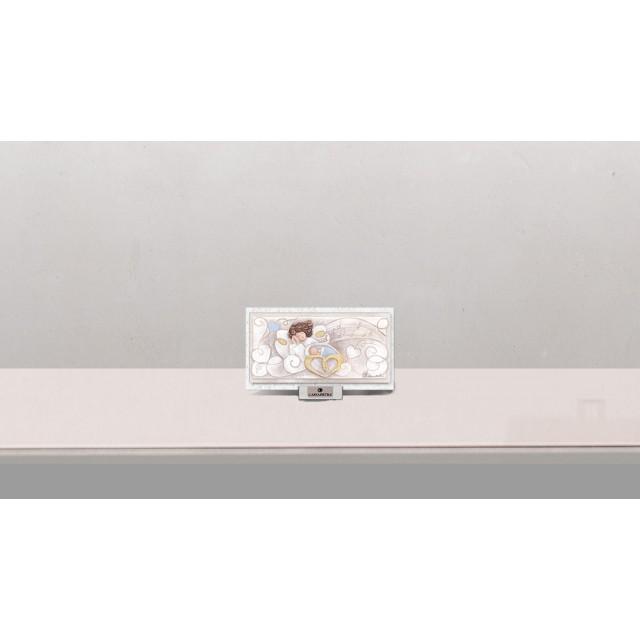 CARTAPIETRA Bomboniera Formella Quadretto Melodia D'Amore Completa di confezione Battesimo Comunione Nascita PC1609151