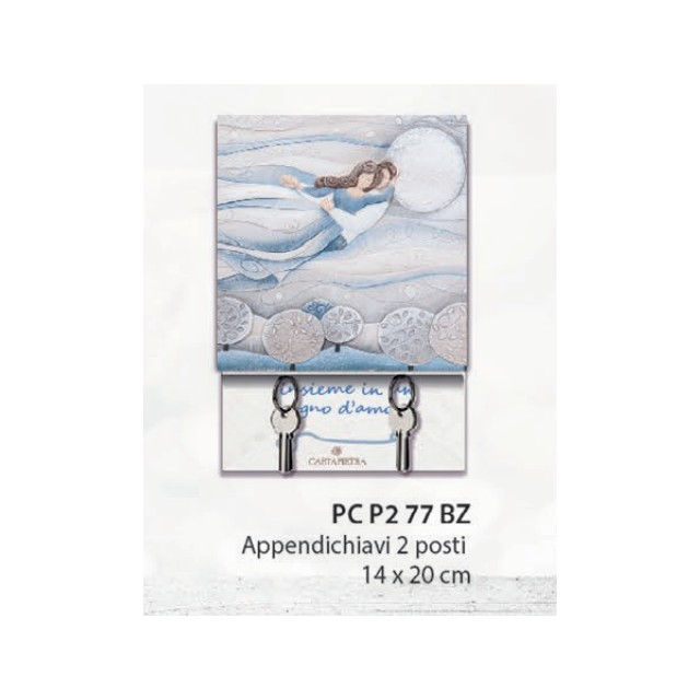 Cartapietra Appendichiavi Sogno Coppia sposi (2 posti 14 * 20cm) Azzurro Polvere