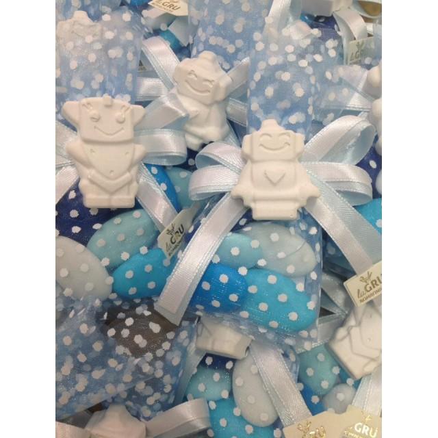 Bomboniera NASCITA Veletto Papillon con gessetto Robot battesimo nascita comunione compleanno