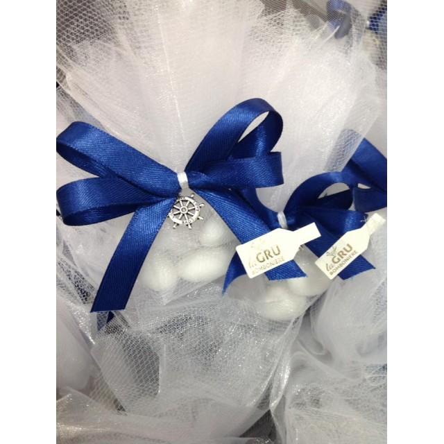 Bomboniera Veletto e tulle Con Charms in metallo compleanno nascita battesimo matrimonio laurea
