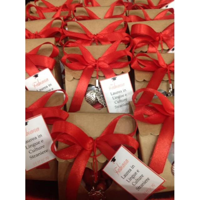 Bomboniera Scatola Cartone e 2 Charms in metallo Completa di confezione battesimo comunione matrimonio laurea