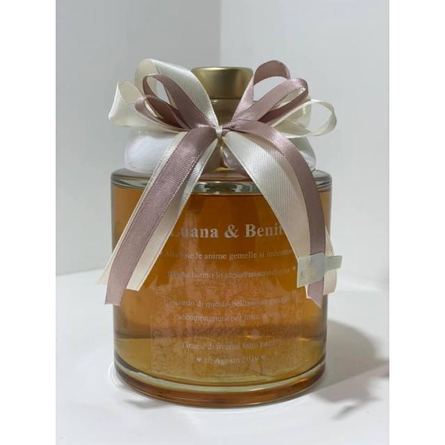 Bomboniera Bottiglia Liquore 50cl Tonda Bassa completa di confezione confetti personalizzabile matrimonio comunione laurea