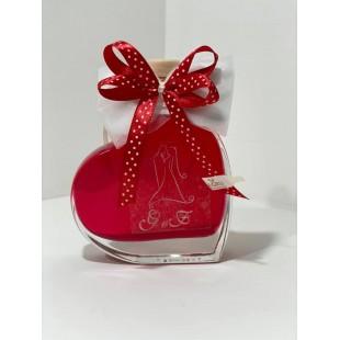 Bomboniera Bottiglia Liquore 10cl Cuore completa di confezione confetti personalizzabile matrimonio comunione laurea