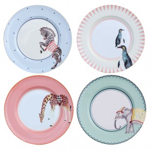 Yvonne Ellen Set 4 piatti Animali e Frasi porcellana