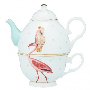 Yvonne Ellen One for tea set teiera e tazza Flamingo Fenicottero