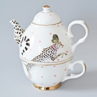 Yvonne Ellen One for tea set teiera e tazza Cheetah ghepardo