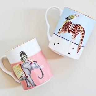Yvonne Ellen Set 2 Mug Giraffa ed Elefante