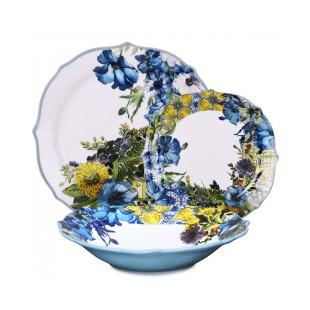 Baci Milano Kitchen Servizio piatti in porcellana 18 pezzi Ocean Blu