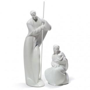 Lladrò Figura Presepe Madonna con Bambino e San Giuseppe Natività bianca