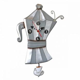 Allen Designs Brew Pot Caffettiera Orologio da parete a pendolo grigio