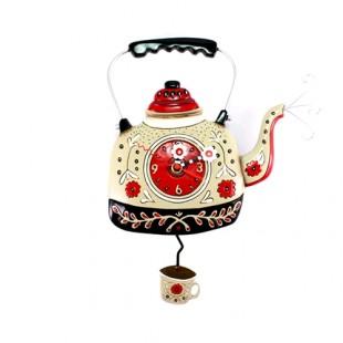 Allen Designs Teakettle Bollitore Tè Orologio da parete a pendolo rosso e nero