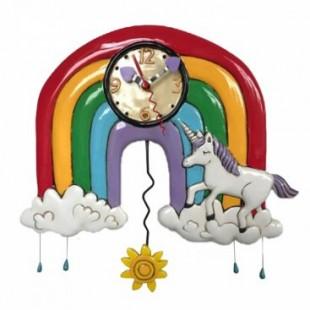 Allen Designs Rainbow & Unicorns Arcobaleno Unicorni Orologio da parete a pendolo multicolor