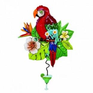 Allen Designs Polly Parrot Pappagallo Orologio da parete a pendolo rosso