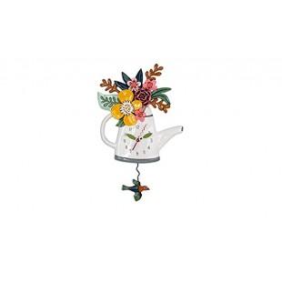 Allen Designs Blossoms Watering Cane Innaffiatoio Orologio da parete a pendolo bianco