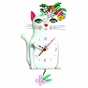Allen Designs Pretty Kitty Gattp Orologio da parete a pendolo bianco