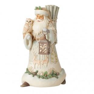 Jim Shore  Heartwood Creek Walking Santa with owl, lanter and birch bag Figurine
