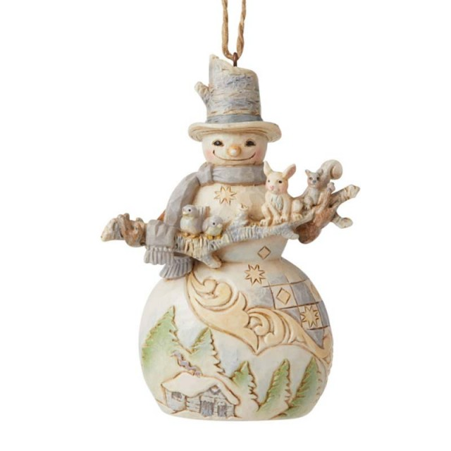 Jim Shore Heartwood Creek Snowman with Branch and animals Figurine