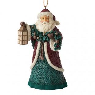 Jim Shore Heartwood Creek Victorian Santa Ornament with Garland Figurine