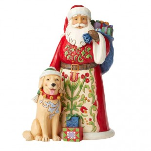 Jim Shore Heartwood Creek Sanra with Dog Figurine Babbo Natale Cane