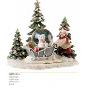L'Oca Nera Gioiosi Pensieri Paesaggio con Luce LED Natale 1XM543.13