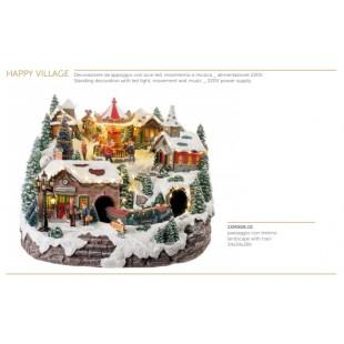L'Oca Nera Happy Village Paesaggio con trenino con luce led movimento e musica Natale 1XM506.10