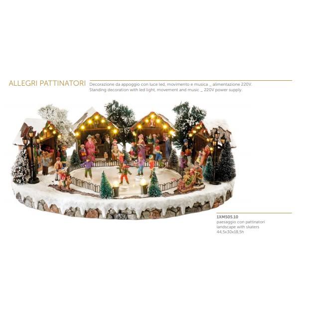 L'Oca Nera Allegri Pattinatori Paesaggio con pattinatori con luce led movimento e musica Natale 1XM505.10