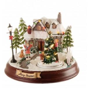 L'Oca Nera Le Case della felicità Villaggio luce led movimento e musica Natale 1XM502.11