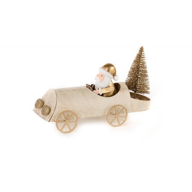 L'Oca Nera 1XM435.13 Natale in Arrivo! - Macchina con Babbo Natale in Metallo 17x6x10h