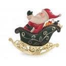 L'Oca Nera Slitta con Babbo Natale in Metallo E' in Arrivo Santa Claus! 1XM443.11