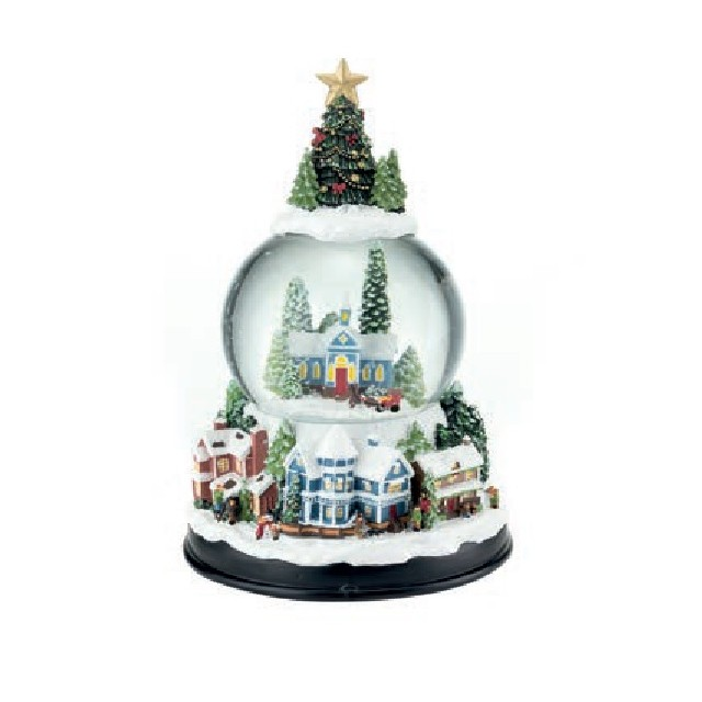 L'Oca Nera Boule de neige con carillon 1XM483 natale neve