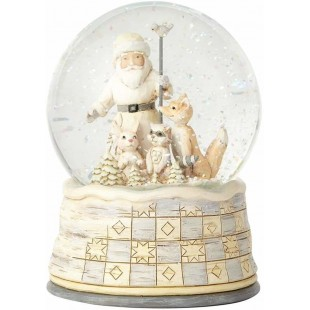 Jim Shore Heartwood Creek White Woodland Santa Snow Ball 13 cm Figurine Babbo Natale Buole de Neige