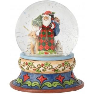 Jim Shore Heartwood Creek santa with deer snowglobe Snow Ball 13 cm Figurine Babbo Natale Buole de Neige
