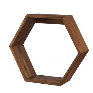 L'Oca Nera 1J130 Mensola esagonale in Legno riciclato 51,5x17x45h