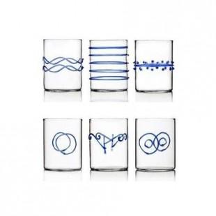 Ichendorf Deco Set 6 bicchieri liquore in vetro BLU