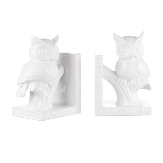L'Oca Nera 1L102 Fermalibri Gufo - set 2 pz in Ceramica 13,5x10x19h